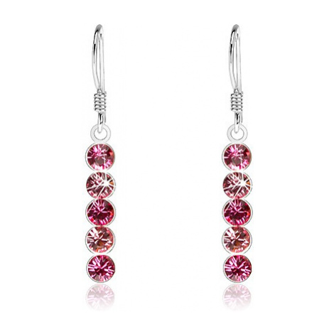 Stříbrné visací náušnice 925, kulaté krystaly Swarovski v odstínech růžové