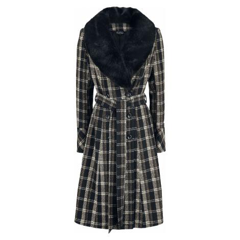 Voodoo Vixen Károvaný kabát s dvouřadým zapínáním Kara Sea Dámský kabát černá