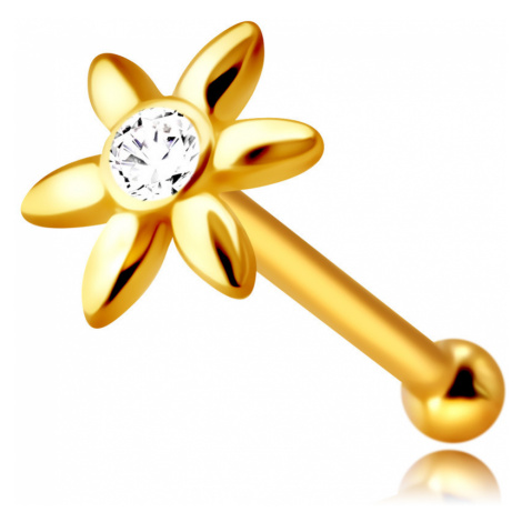 Piercing do nosu ve žlutém 14K zlatě - kvítek s čirým zirkonem, dlouhé okvětní lístky Šperky eshop