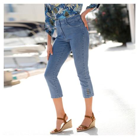Blancheporte 3/4 džíny s knoflíky sepraná modrá