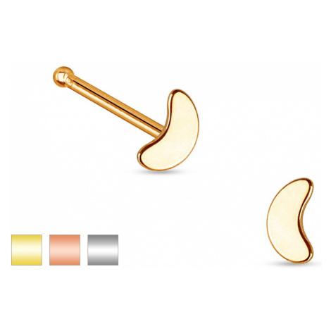 Rovný piercing do nosu z oceli 316L, malý lesklý srpek měsíce - Barva piercing: Měděná Šperky eshop