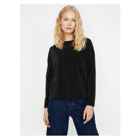 Koton Women's Black Shimmer Detailed T-Shirt
