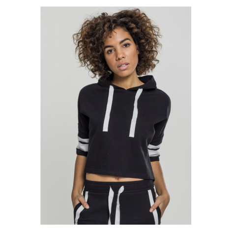 Ladies Taped Short Sleeve Hoody - black/white Urban Classics