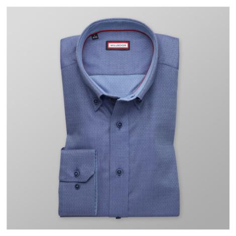 Košile slim fit modrá se vzorem herringbone (výška 176-182 i 188-194) 9999 Willsoor