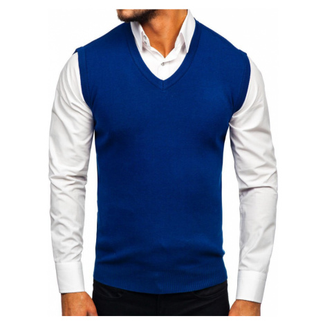 Modrá pánská pletená vesta Bolf H1950 HOT RED