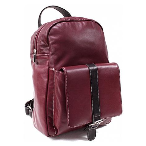 Červenočerný kožený praktický batoh Fridlie Arwel