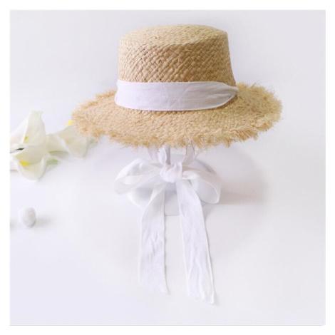 Slaměný klobouk pro dámy s barevnou stuhou na zavazování