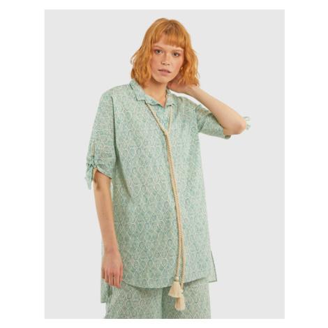 Košile La Martina Woman Printed Popeline Shirt - Zelená