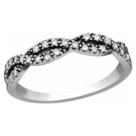 OLIVIE Stříbrný propletený prsten se zirkony 2481