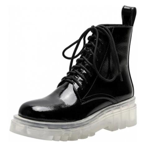 Kotníkové boty šněrovací kožené boty na vysoké podrážce