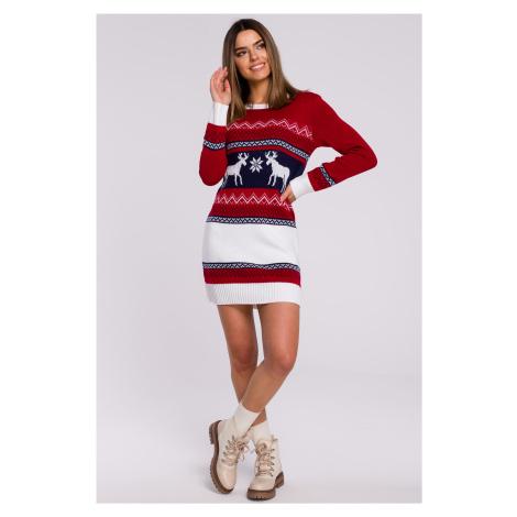 Úpletové vánoční šaty se soby svetrové šaty dvoubarevné
