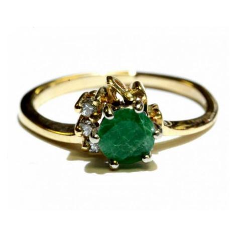 AutorskeSperky.com - 14 kt zlatý prsten se smaragdem a brilianty - S5150