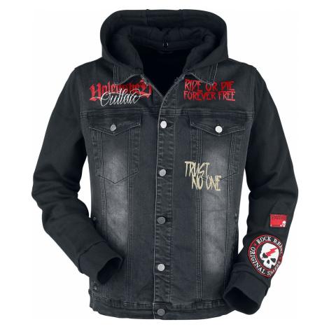 Rock Rebel by EMP Přechodní bunda s nášivkami a potisky Bunda černá