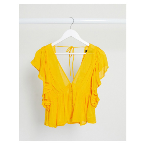 Y.A.S blouse with peplum hem and frill sleeve in yellow
