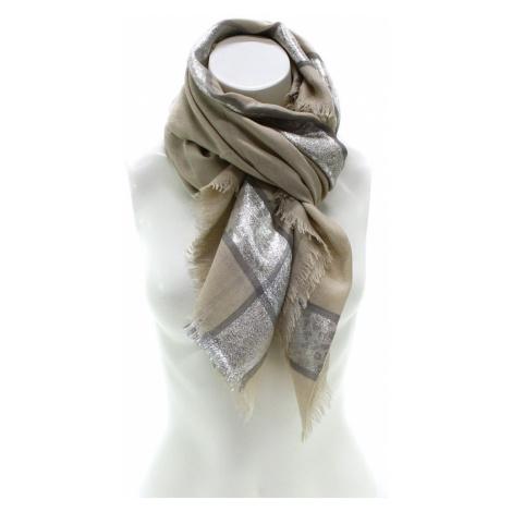 Béžový dámský módní šátek se stříbrným pruhem Vedette Jordan (PL)