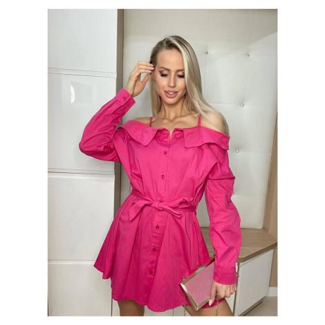 Růžové košilové šaty se spuštěnými rameny (693ART) jedna Made in Italy