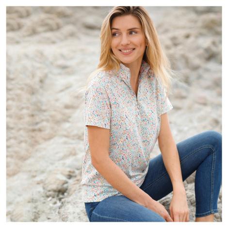 Blancheporte Bavlněné tričko s potiskem béžová