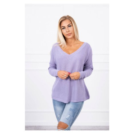 Sweater with V neckline purple