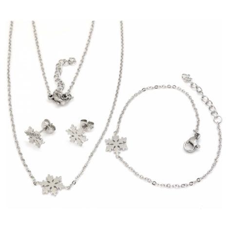 Linda's Jewelry Sada šperků Sněhová Vločka chirurgická ocel IS027