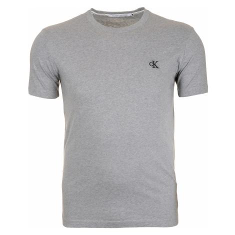 Pánské šedé tričko s malým vyšitým logem Calvin Klein