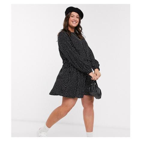 ASOS DESIGN Curve ruched waist mini dress in polka dot-Multi