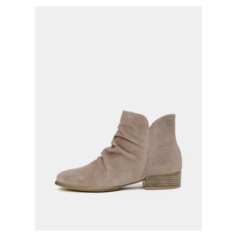 Tamaris hnědé semišové kotníkové boty