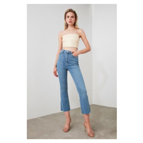 Trendyol Blue Hem Dashed High Waist Crop Flare Jeans