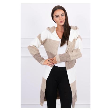 Three-color striped sweater ecru+beige+cappuccino Kesi