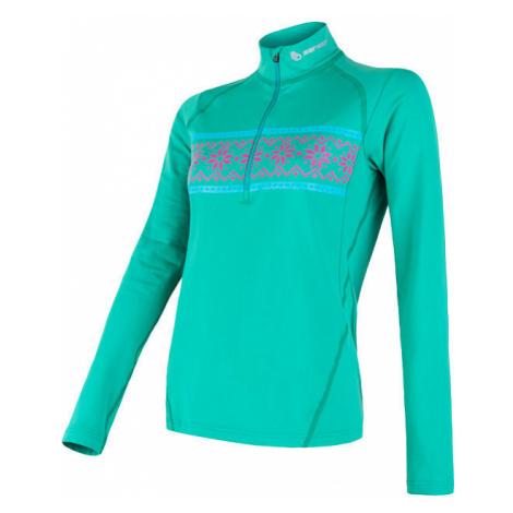 Dámské tričko SENSOR Coolmax Thermo dl.ruk. sv. zelená/vzor
