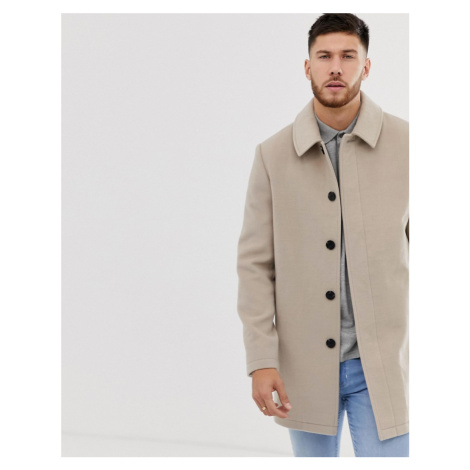 ASOS DESIGN wool mix trench coat in stone