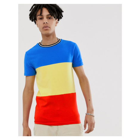 ASOS DESIGN muscle fit t-shirt in primary colour block and monochrome tipping-Multi