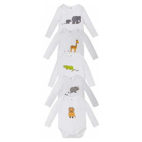Dětské body z organické bavlny, dlouhý rukáv (5 ks v balení) Bonprix