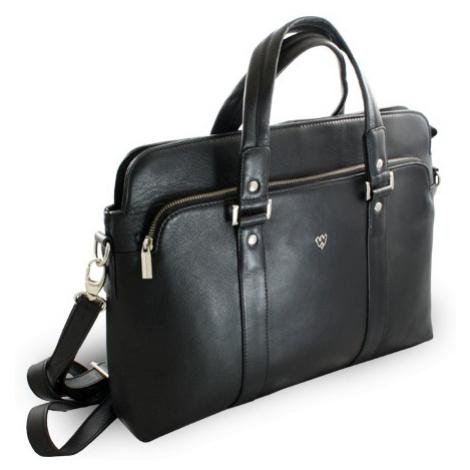 Černá kožená business taška na notebook Catalina Arwel