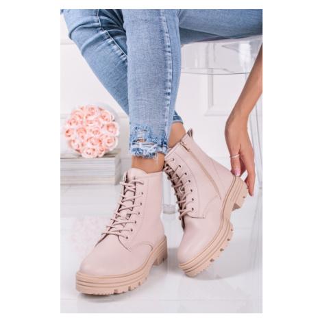 Světle růžové šněrovací kotníkové boty 5-25215 s.Oliver