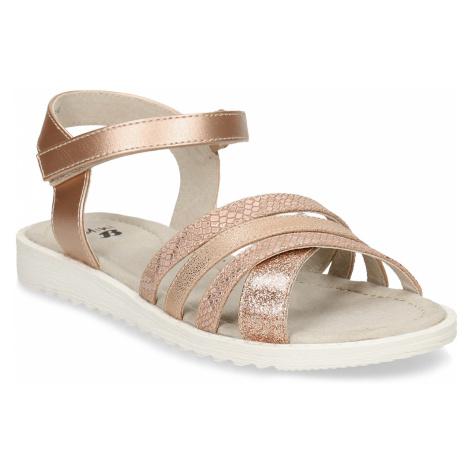 Zlaté dívčí sandály na suchý zip Baťa