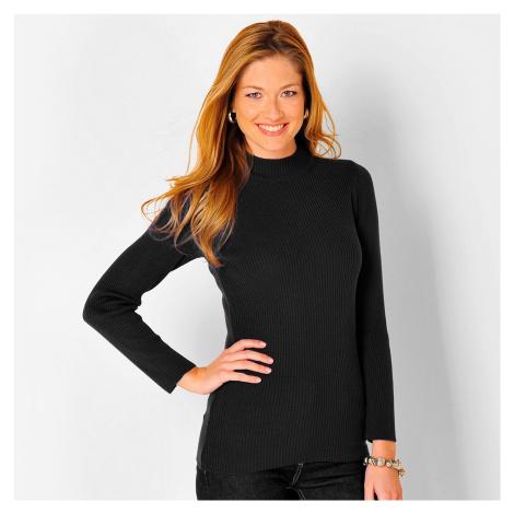 Blancheporte Žebrovaný pulovr se stojáčkem, délka cca 72 cm černá