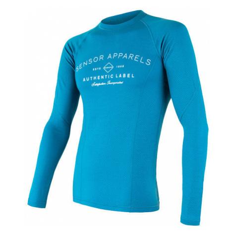 Pánské tričko SENSOR Merino DF Label dl. rukáv modrá