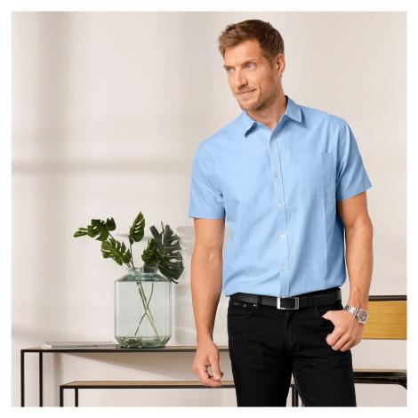 Blancheporte Jednobarevná košile s krátkými rukávy, popelín světlemodrá