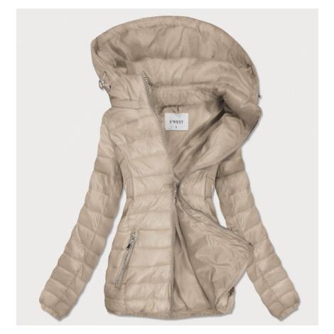 Béžová dámská prošívaná bunda s odepínací kapucí (B0106) béžová S'WEST