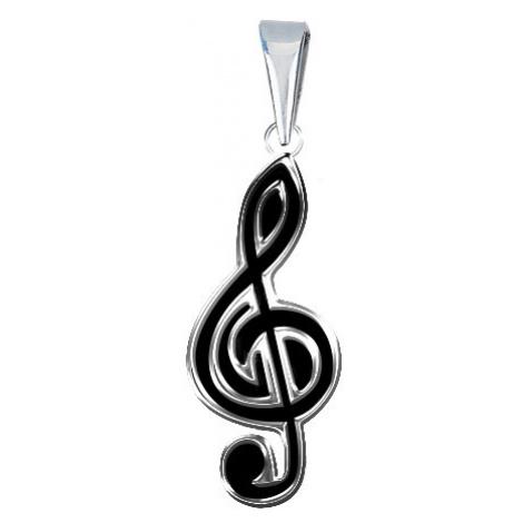Stříbrný přívěsek 925 s plochým černým houslovým klíčem Šperky eshop