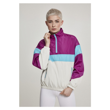 Urban Classics Ladies 3-Tone Stand Up Collar Pull Over Jacket viola/wht/aqua