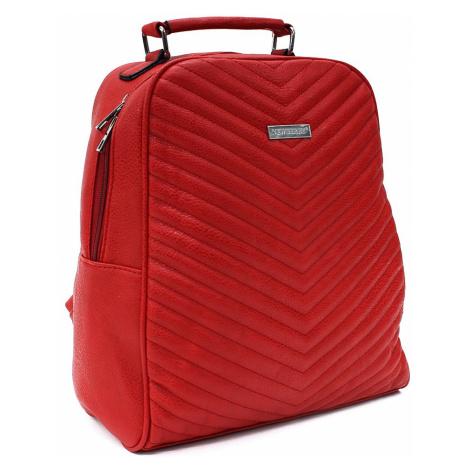 Červený dámský zipový batoh s prošitím Kenia Mahel