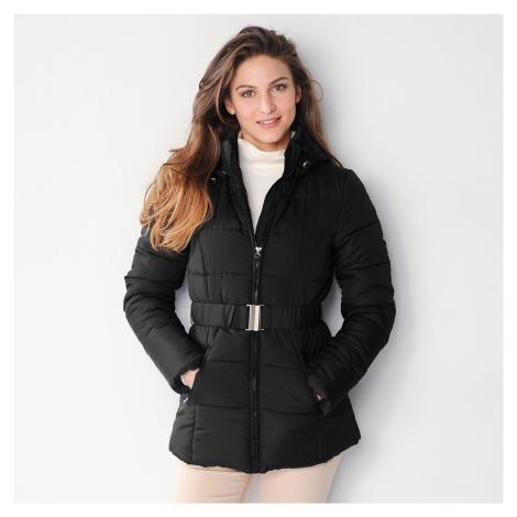 Blancheporte Krátká prošívaná bunda s páskem černá