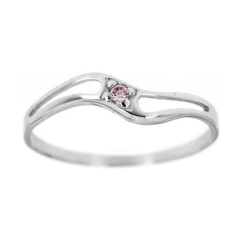 Dámský zlatý prsten s růžovým zirkonem F11br