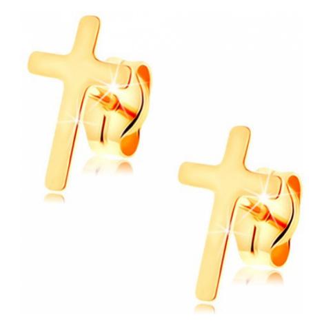 Náušnice ve žlutém 14K zlatě - malý latinský křížek, vysoký lesk, puzetky Šperky eshop