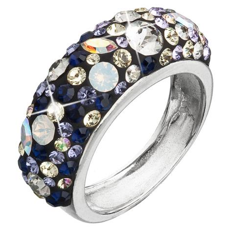 Evolution Group Stříbrný prsten s krystaly Swarovski mix barev fialová 35031.3