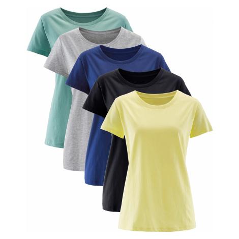 Dlouhé tričko s kulatým výstřihem (5 ks v balení), krátký rukáv Bonprix