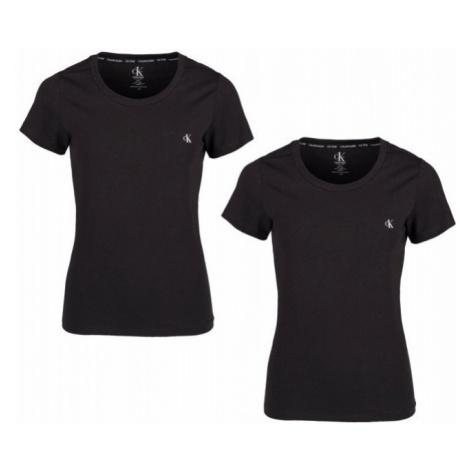Calvin Klein CALVIN KLEIN dámské černé tričko S/S CREW NECK 2PK - 2 ks v balení - CK ONE