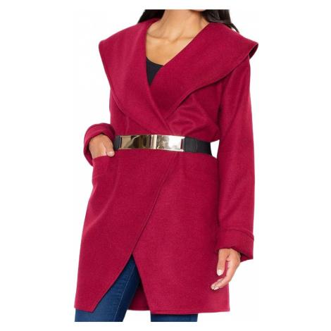 červený elegantní kabát se zlatým páskem m407 deep red Figl