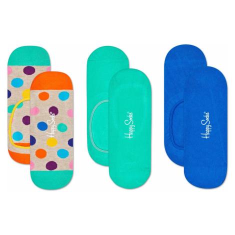 Sada 3ks - Barevné vykrojené ponožky Big Dot – 41 - 46 Happy Socks